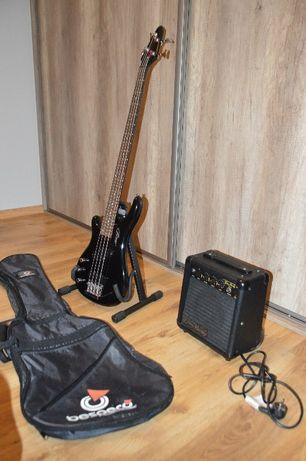 ZESTAW: Gitara basowa, stojak, futerał, amplituner. STAN BARDZO DOBRY!