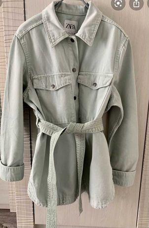 Джинсовая рубашка куртка ZARA оверсайз фисташковый оттенок