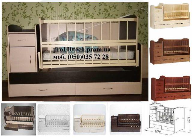 Детская кроватка-трансформер (кроватка+комод-пеленатор+стол)