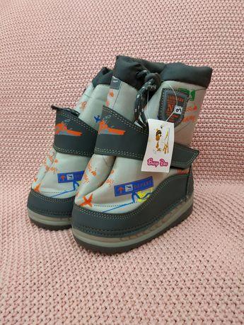 Детские дутики луноходы на мальчика, зимние сапоги ботинки