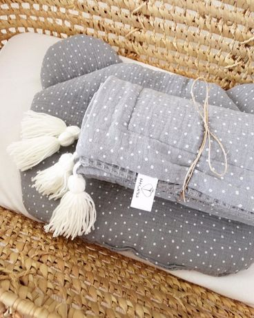 Zestaw bawelna wafel - muślin. Otulacz + poduszka miś. Handmade
