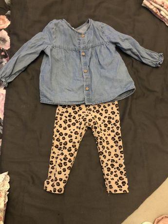Komplet h&m koszula leginsy jeans panterka 74