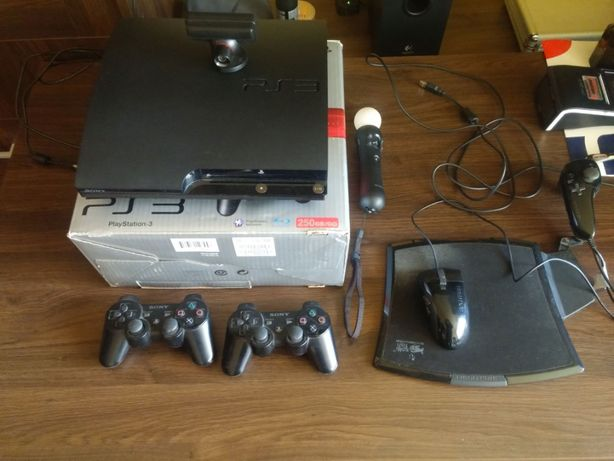 PlayStation 3 250GB 2 Pady 9 Gier Ps Move/Eye/FragFX/Pudełko FULL