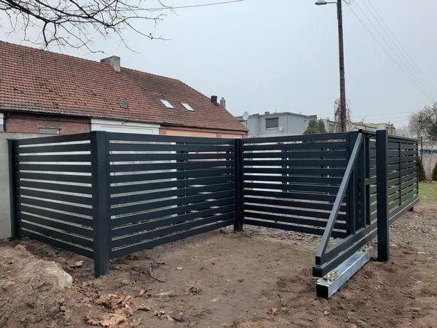 Brama przesuwna, uchylna, ogrodzenie, płot.