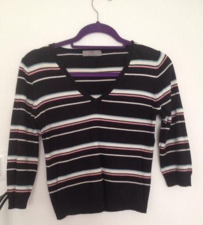 Sweter damski Marks&Spencer r 40 (12) Czarny w paski Stan BDB