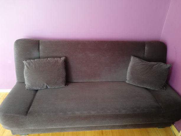 Kanapa rozkładana łóżko wersalka brązowa 2 poduszki ciemna