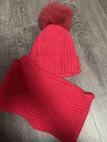 Зимняя шапка бубон натуральный
