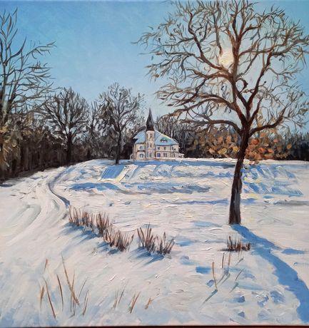 Obraz ręcznie malowany, zimowy pejzaż