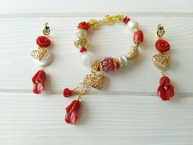 Позолоченные украшения из натурального жемчуга барокко и коралла