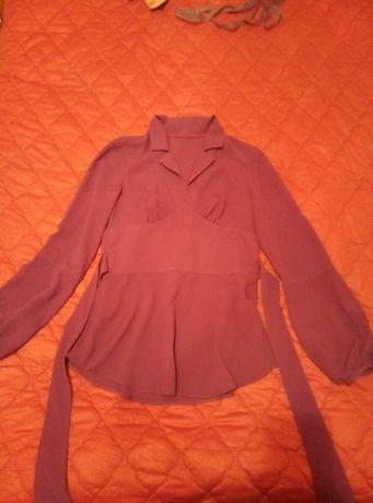 Сиреневая блуза отличный материал, собственный пошив