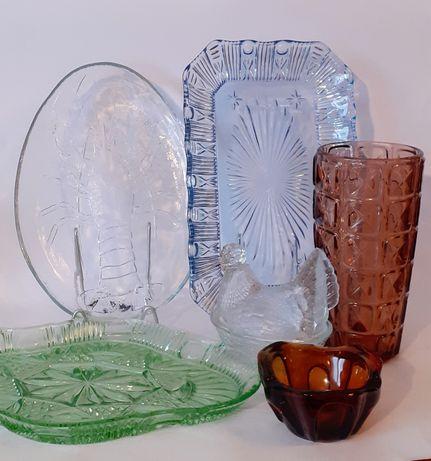 Piękne stare kolorowe szkło Ząbkowice kura patera wazon kostka