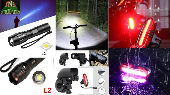 Lanterna para Bikes, Branca para Frente + Vermelha Trás (Recarregáveis