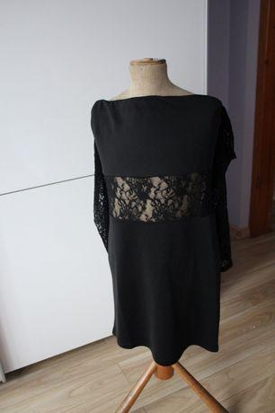 Czarna sukienka z koronką i odkrytymi ramionami rozmiar 38