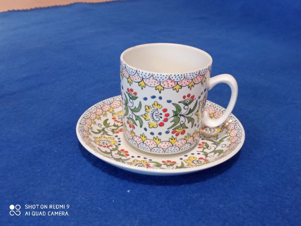 Komplet 2 filiżanka talerzyk porcelana opolska przed 1975 design PRL