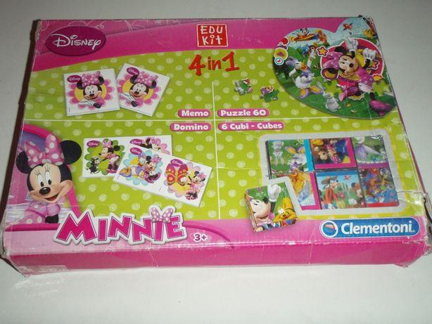 Zestaw Myszka Minnie: puzzle, układanka, domino i gra Memo