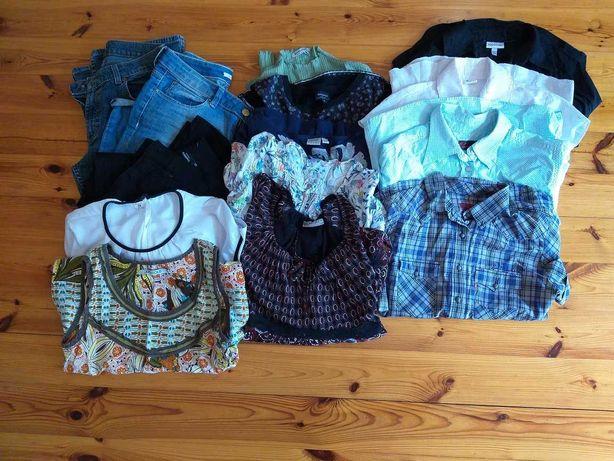 damski zestaw 14 markowych bluzek, spodni, rozmiar  36 S