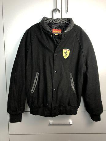 Przepiękna licencjonowana kurtka Ferrari L wełna skóra czarna bomberka