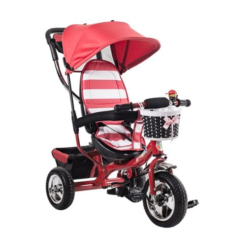 Детская коляска велосипед трёхколесный 2 корзинки R-Baby Deluxe/ Цвета
