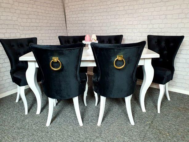 Krzesło z kołatką ekskluzywne czarne pikowane