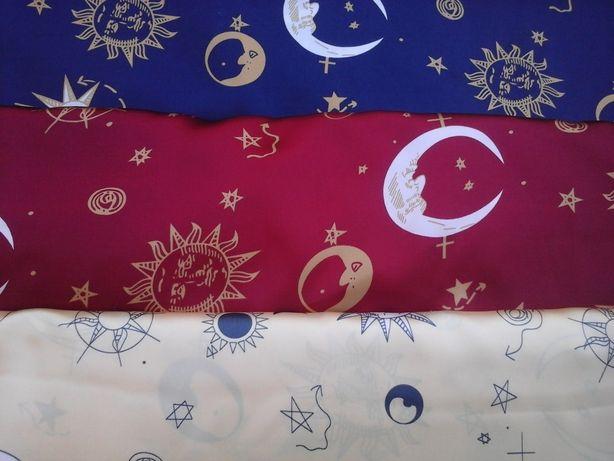 Ткань атлас синий, красный, желтый с небесными телами