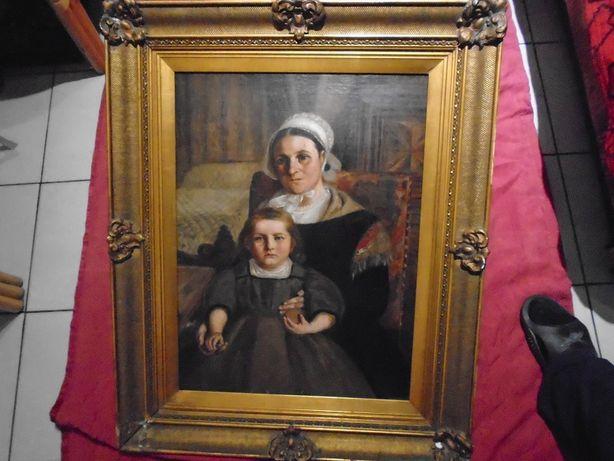 Matka z Córka Olej na Płótnie z Przełomu XVIII - XIX w 82x67 cm