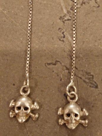 Серьги Веселый Роджер, череп с костями на цепочке, серебро 925