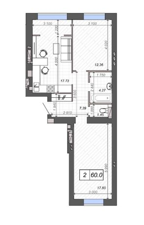 2-х комнатная квартира с просторной кухней