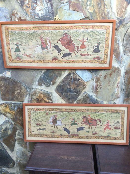 Pinturas painéis indianos pintura em seda do séc XIX Cenas Caça Vila Nova de Milfontes - imagem 1