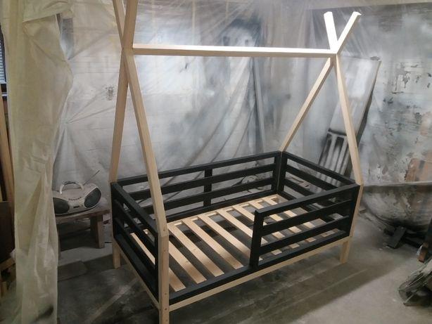 Łóżko domek 180 x 80 TIPI MAXI APACZ zdejmowane poziome barierki