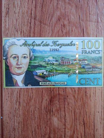 сувенирная банкнота 100 франков 2012 годАрхипелаг Кергелен