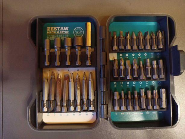 Zestaw bitów i nasadek + przedłużka, walizka, komplet do wkrętarki