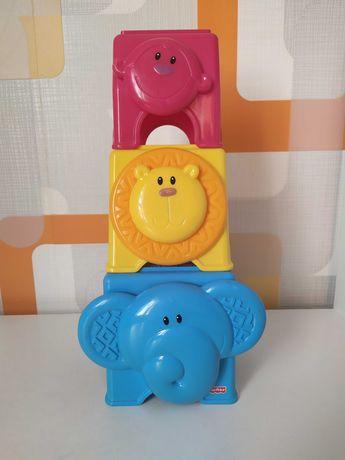 Кубики пирамидка Друзья из джунглей Fisher price Mattel