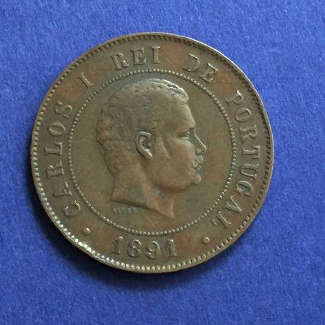 moeda Vintém 20 réis 1891-A (cunhada em Paris) - D. Carlos I