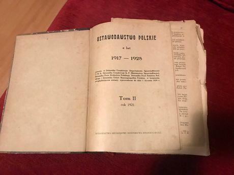 Stara książka księga 1921 r. Ustawodawstwo Polskie 1917