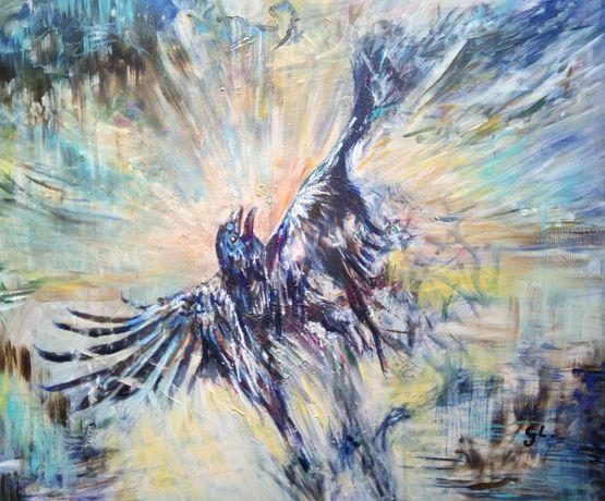 Obraz akrylowy ręcznie malowany Ikarowy Lot G. Lazarek 60 x 50
