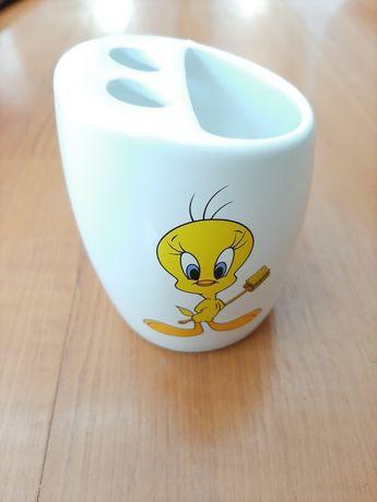 (COMO NOVO) Copo/Suporte para escovas/pastas de dentes (Looney Tunes)