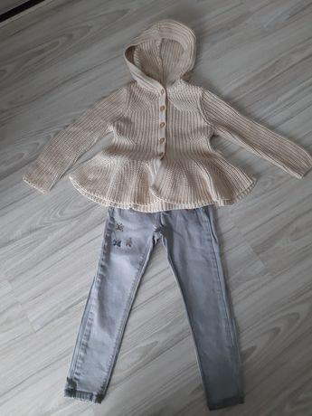 Zestaw dla dziewczynki sweterek +spodnie typu rurki rozmiar 98/104