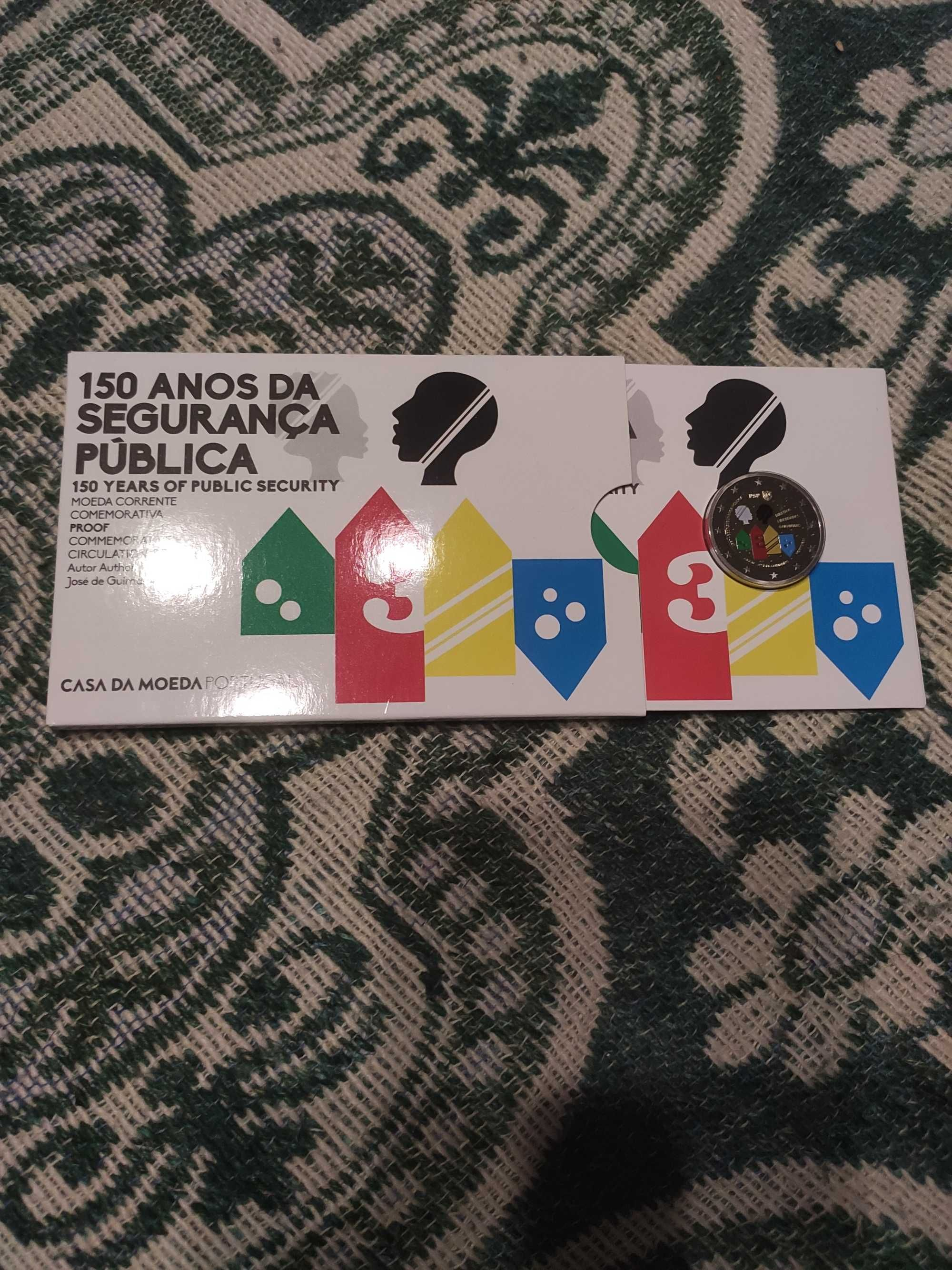 Moeda 2 Euro coloeida Portugal 2017. 150 Anos da PSP proof