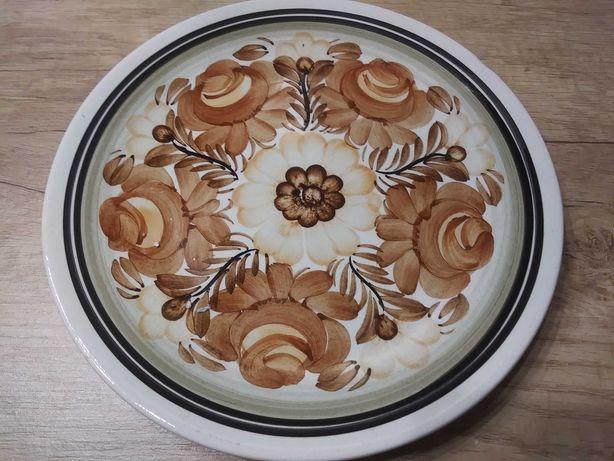 Stary talerz z kwiatami porcelany na ścianę  stara porcelana Koło PRL
