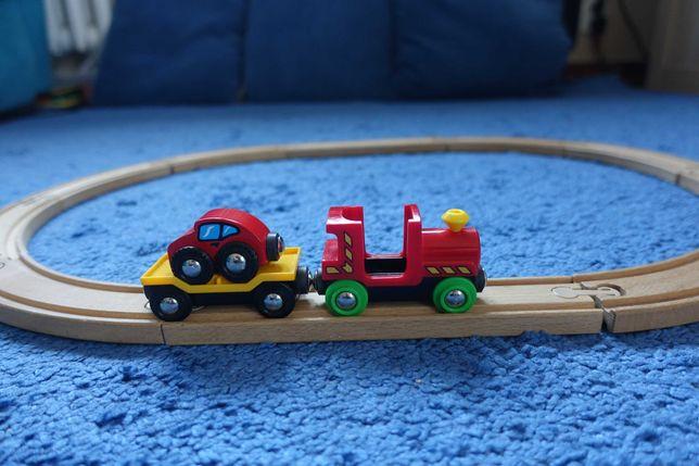BRIO laweta z autkiem i ciuchcią, kolejka drewniana, tory IKEA