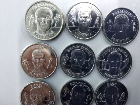 Monety z piłkarzami biedronka