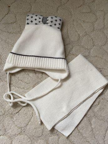 Шапка +шарф набор 2-3 года