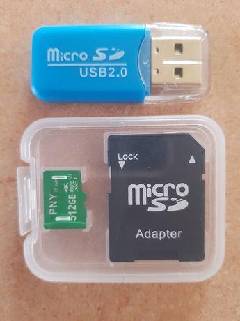 Cartão de Memória Micro SD PNY 512 GB + Leitor de cartões