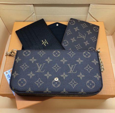 Torebka LV Louis Vuitton Felicie brazowa kratka monogram fuksja