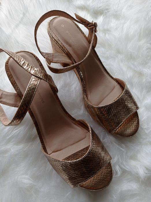 Złote nowe sandały na słupku Dorothy Perkins rozmiar 42 Olsztyn - image 1