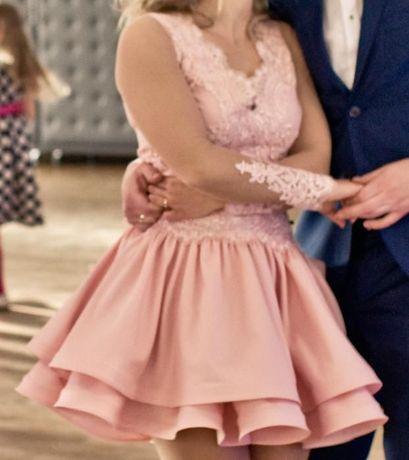 Lou sukienka S savva koronka różowa
