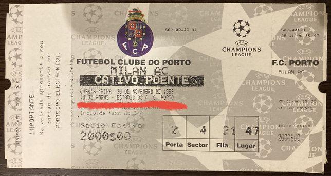 Bilhete do jogo fa Champions League FC Porto x AC Milan