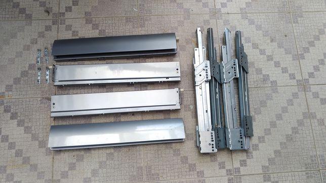 Ferragens gavetas 50 cm, corrediças e laterais para móveis.