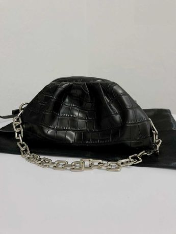 Стильная черная облако пельмень рептилия кроко miraton сумка новая