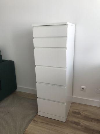 Malm cómoda de 6 gavetas branca ikea